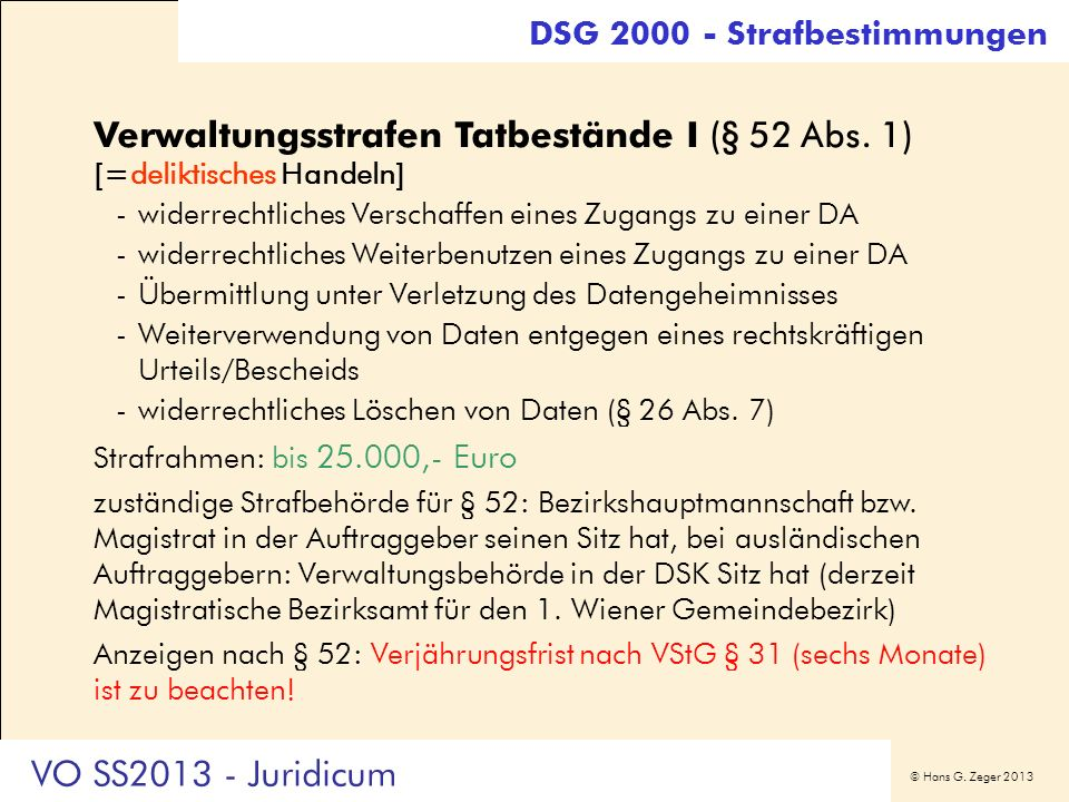 Verwaltungsstrafen Tatbestände I (§ 52 Abs. 1) [=deliktisches Handeln]